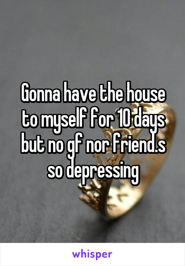 Gonna have the house to myself for 10 days but no gf nor friend.s so depressing