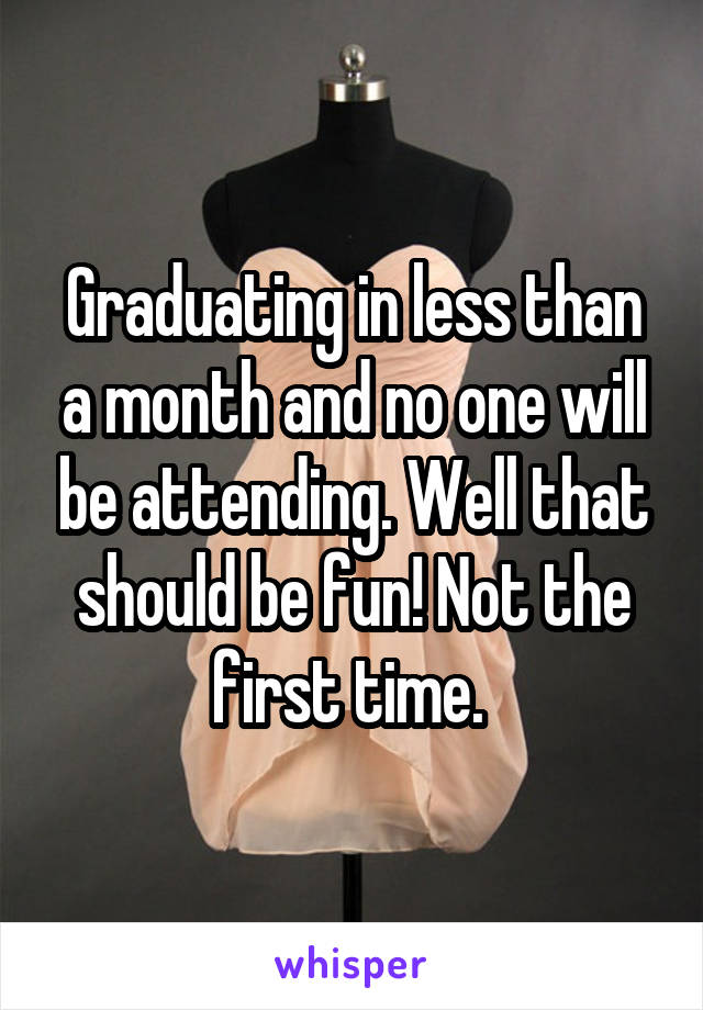 Graduating in less than a month and no one will be attending. Well that should be fun! Not the first time.