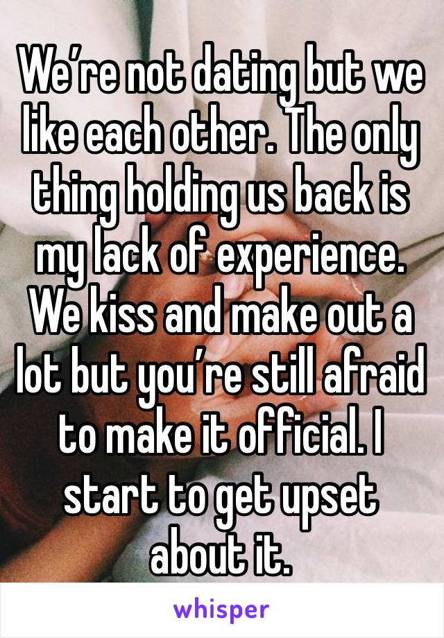 We're not dating but we like each other. The only thing holding us back is my lack of experience. We kiss and make out a lot but you're still afraid to make it official. I start to get upset about it.