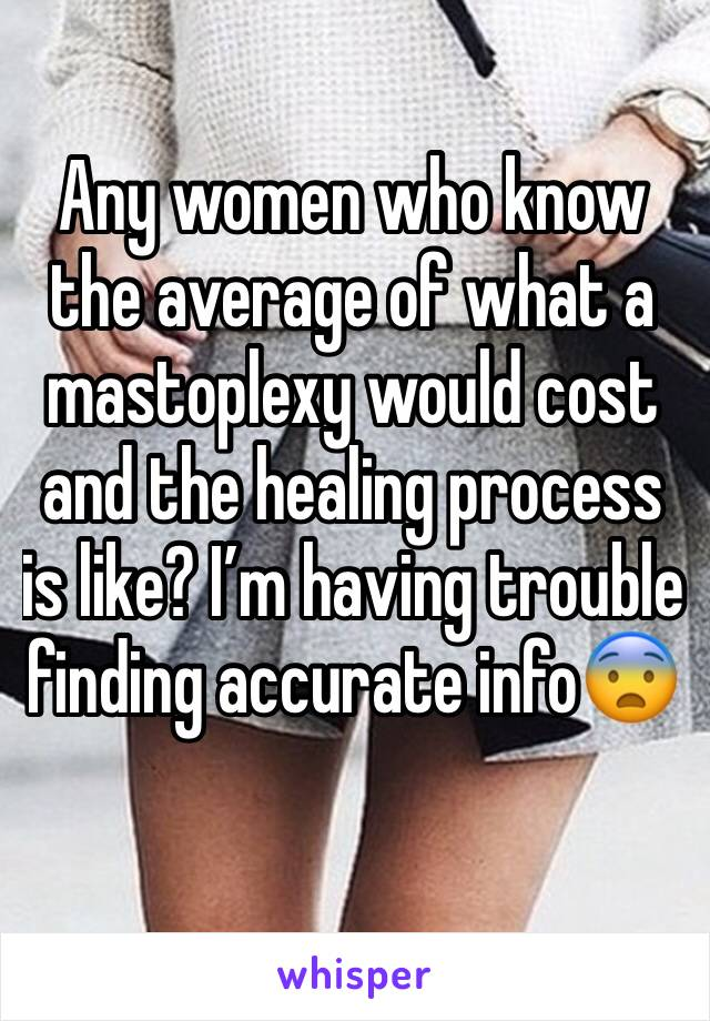 Any women who know the average of what a mastoplexy would cost and the healing process is like? I'm having trouble finding accurate info😨