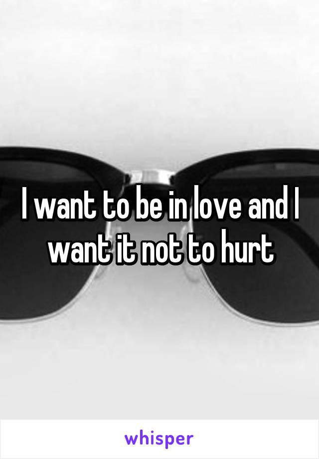 I want to be in love and I want it not to hurt