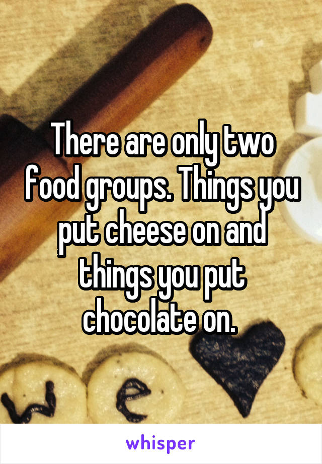 There are only two food groups. Things you put cheese on and things you put chocolate on.