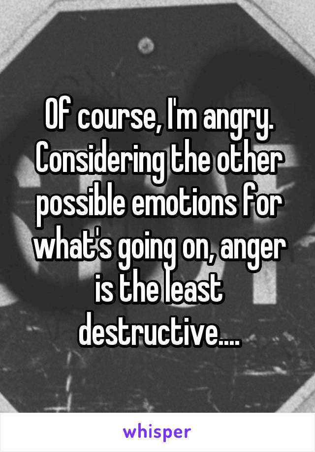 Of course, I'm angry. Considering the other possible emotions for what's going on, anger is the least destructive....