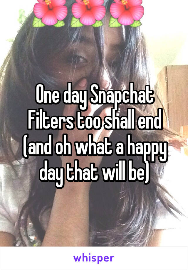 One day Snapchat Filters too shall end (and oh what a happy day that will be)