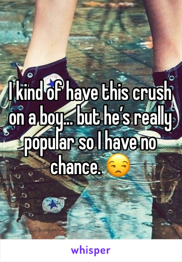 I kind of have this crush on a boy... but he's really popular so I have no chance. 😒