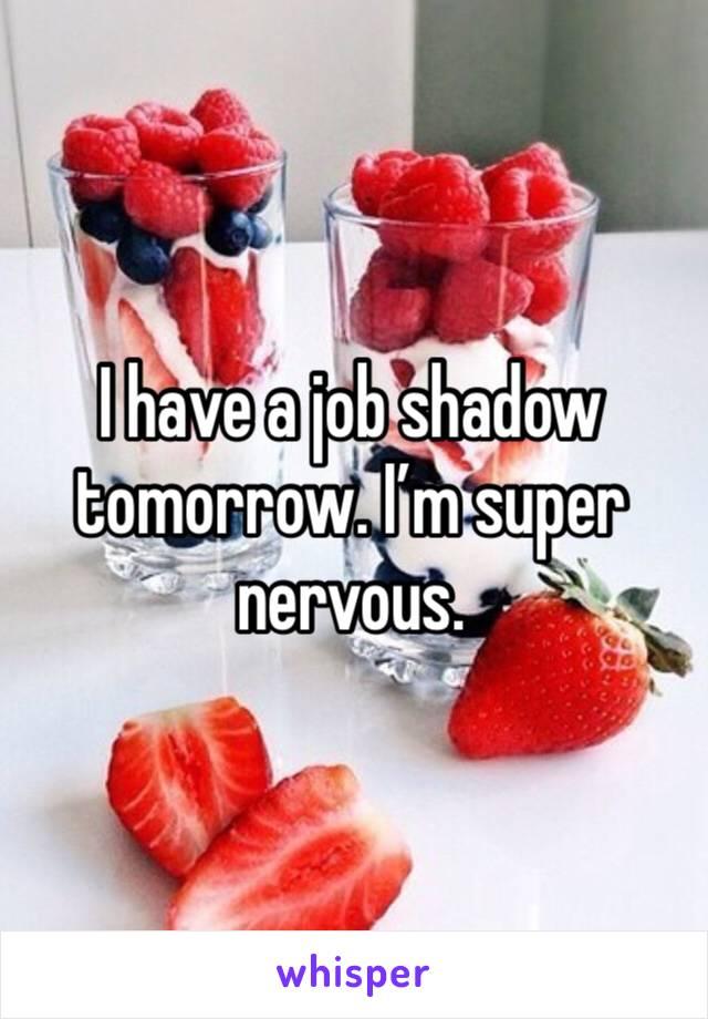 I have a job shadow tomorrow. I'm super nervous.