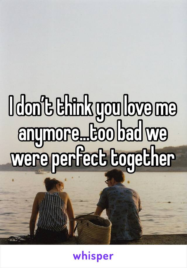 I don't think you love me anymore...too bad we were perfect together