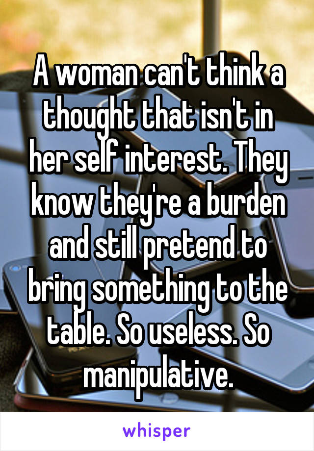A woman can't think a thought that isn't in her self interest. They know they're a burden and still pretend to bring something to the table. So useless. So manipulative.