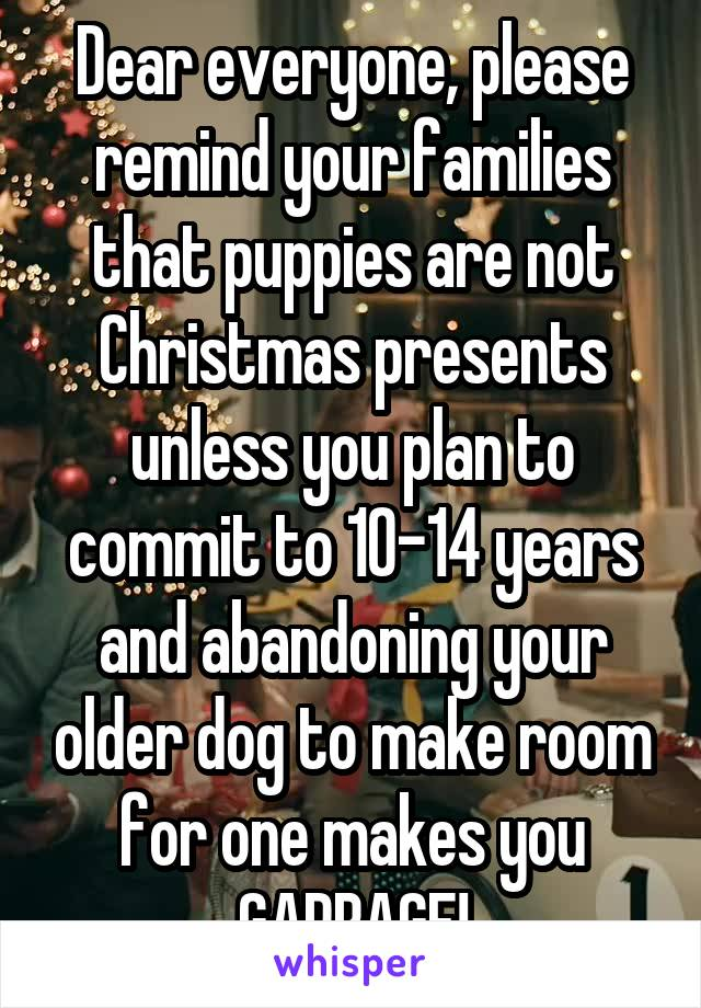 Dear everyone, please remind your families that puppies are not Christmas presents unless you plan to commit to 10-14 years and abandoning your older dog to make room for one makes you GARBAGE!
