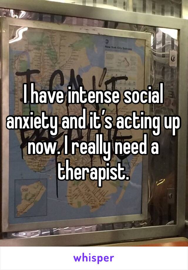 I have intense social anxiety and it's acting up now. I really need a therapist.