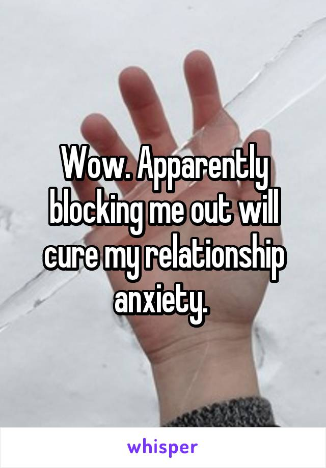 Wow. Apparently blocking me out will cure my relationship anxiety.