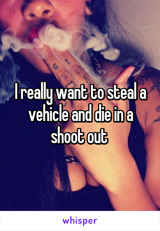 I really want to steal a vehicle and die in a shoot out