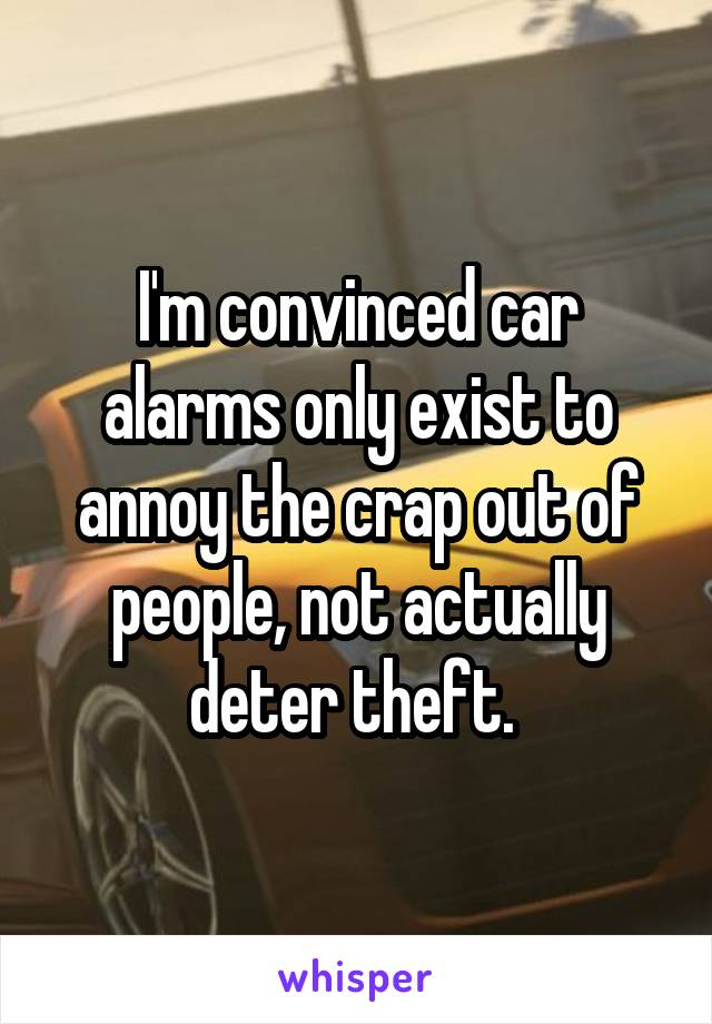 I'm convinced car alarms only exist to annoy the crap out of people, not actually deter theft.