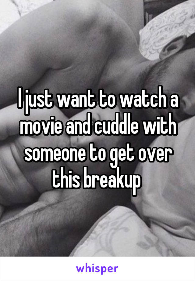 I just want to watch a movie and cuddle with someone to get over this breakup