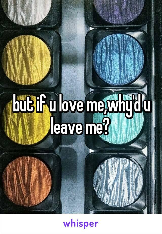 but if u love me,why'd u leave me?