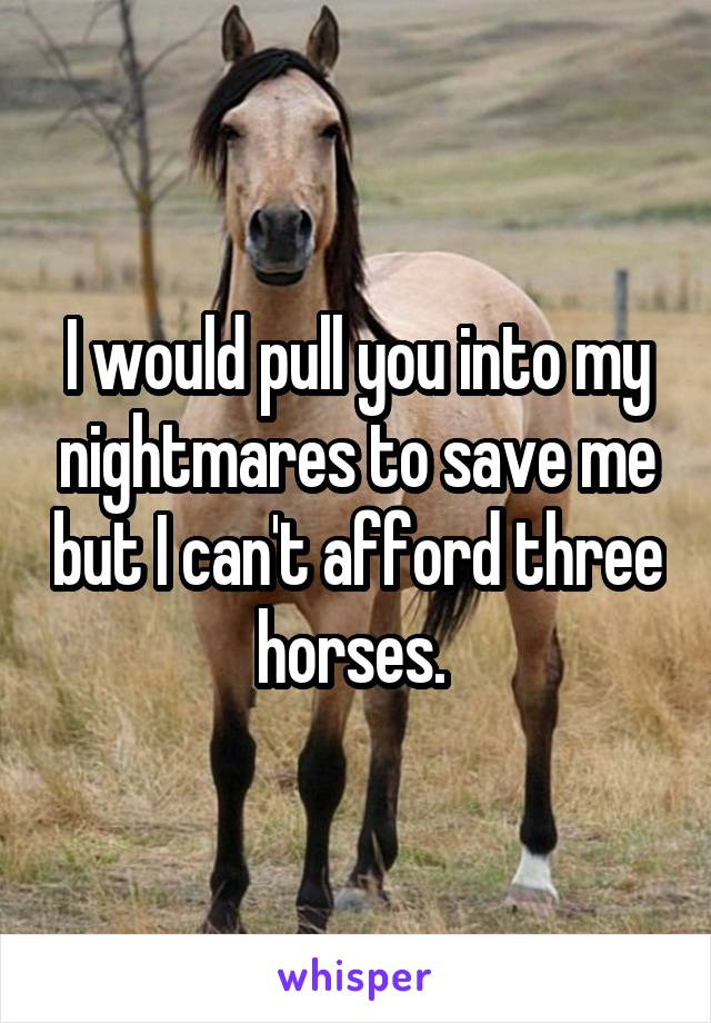 I would pull you into my nightmares to save me but I can't afford three horses.