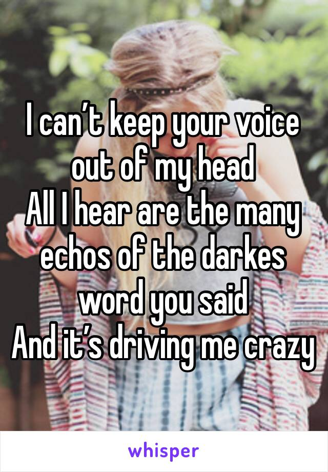 I can't keep your voice out of my head All I hear are the many echos of the darkes word you said And it's driving me crazy