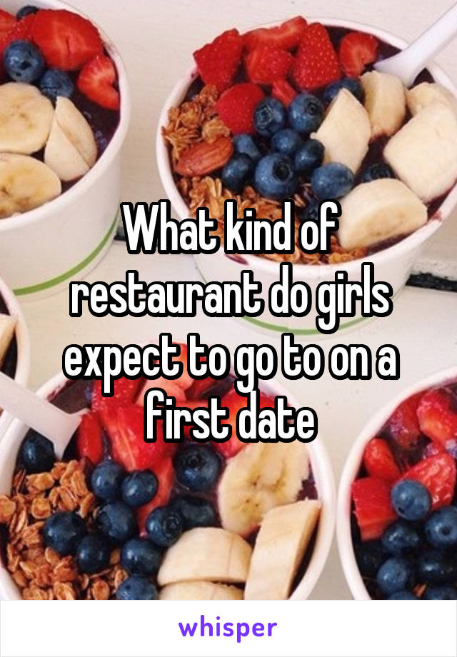 What kind of restaurant do girls expect to go to on a first date
