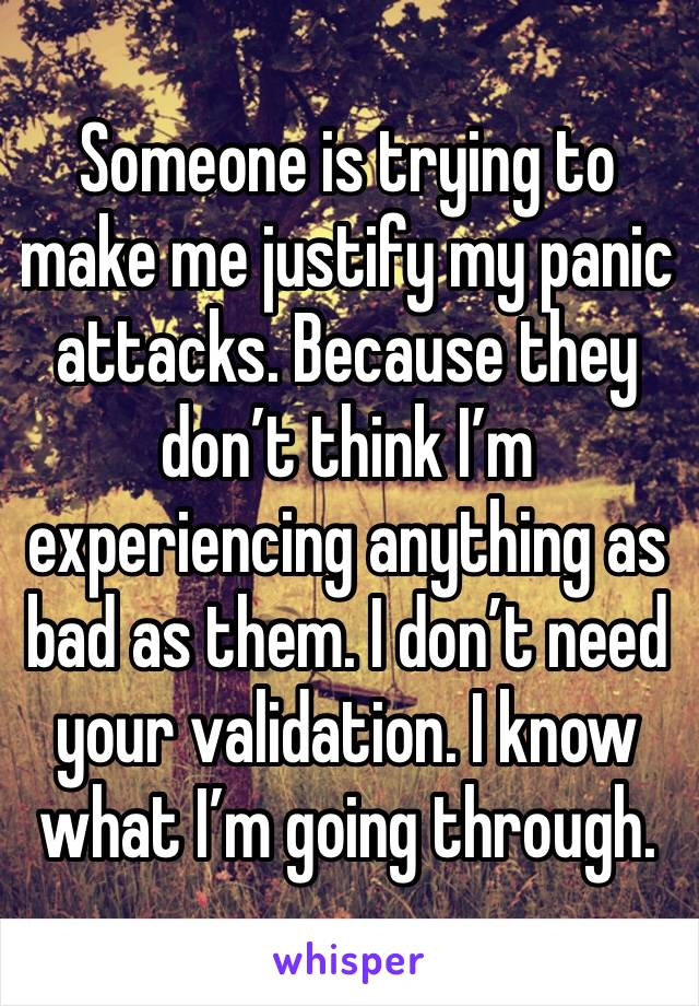 Someone is trying to make me justify my panic attacks. Because they don't think I'm experiencing anything as bad as them. I don't need your validation. I know what I'm going through.