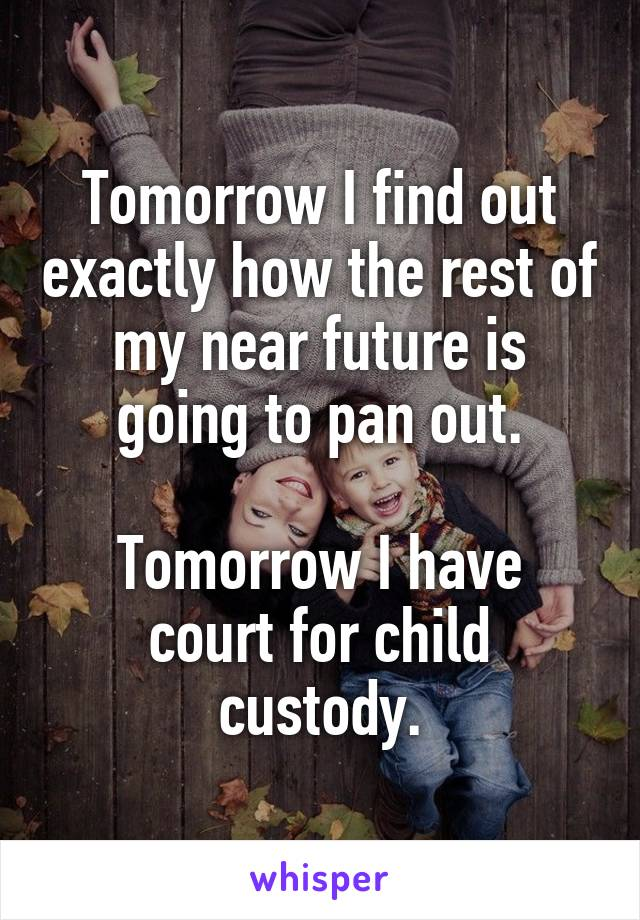 Tomorrow I find out exactly how the rest of my near future is going to pan out.  Tomorrow I have court for child custody.