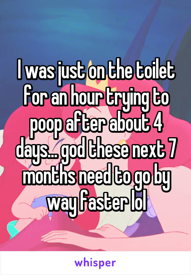 I was just on the toilet for an hour trying to poop after about 4 days... god these next 7 months need to go by way faster lol