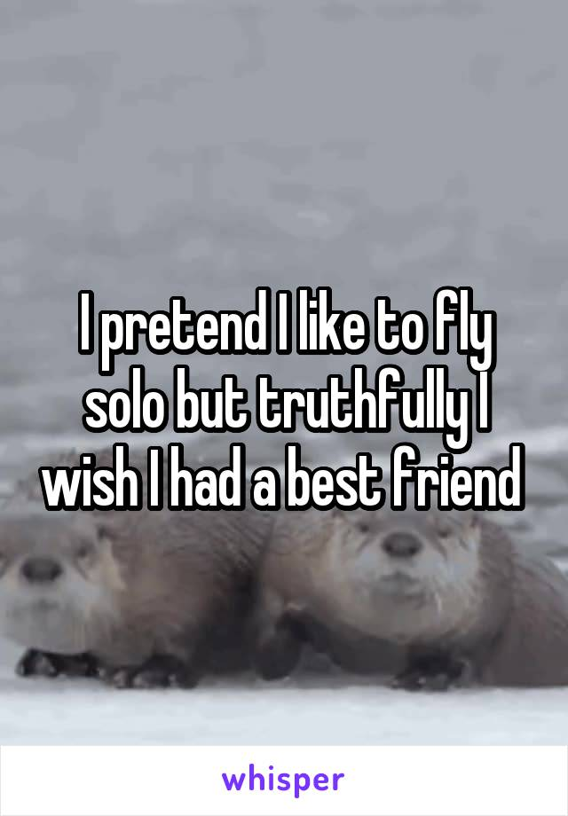 I pretend I like to fly solo but truthfully I wish I had a best friend