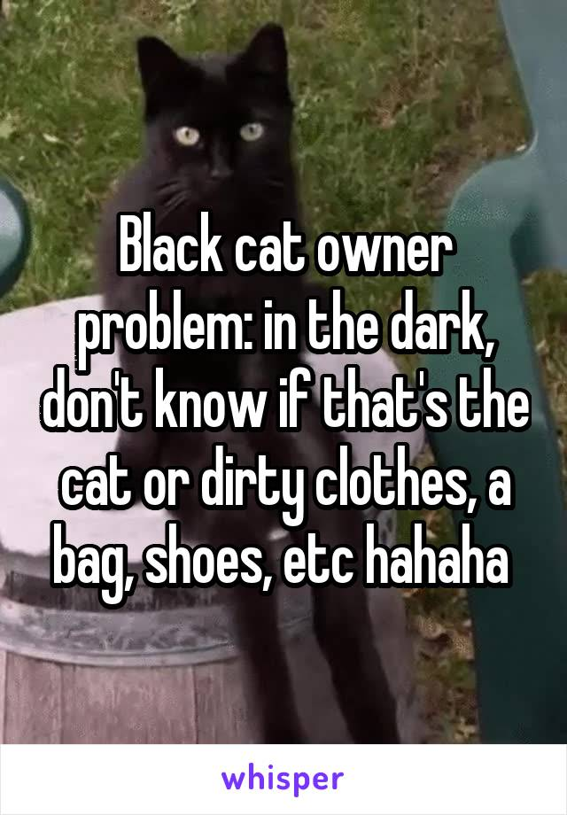 Black cat owner problem: in the dark, don't know if that's the cat or dirty clothes, a bag, shoes, etc hahaha