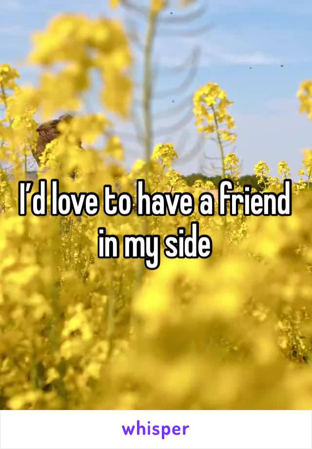 I'd love to have a friend in my side