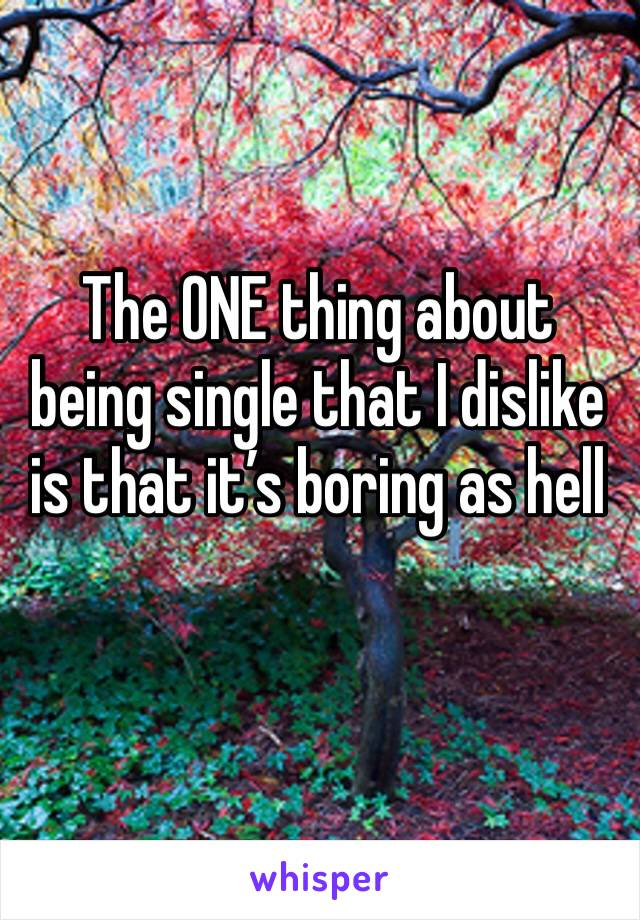 The ONE thing about being single that I dislike is that it's boring as hell