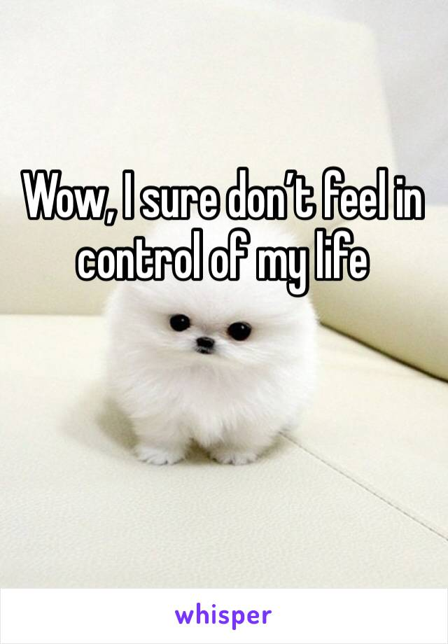 Wow, I sure don't feel in control of my life