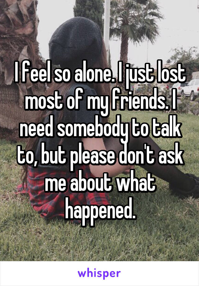 I feel so alone. I just lost most of my friends. I need somebody to talk to, but please don't ask me about what happened.