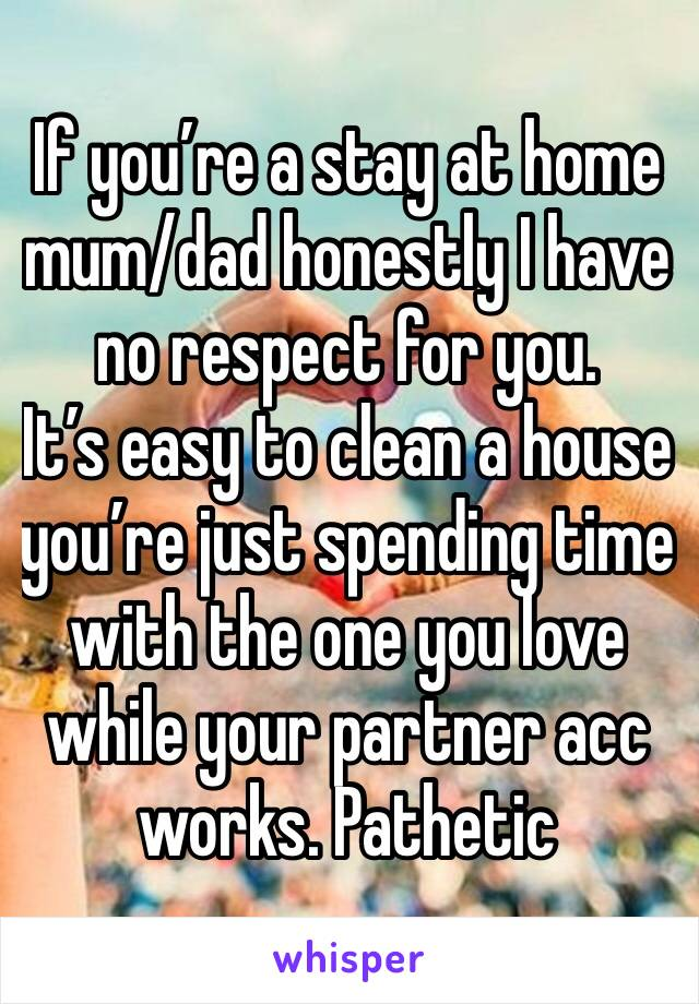 If you're a stay at home mum/dad honestly I have no respect for you.  It's easy to clean a house you're just spending time with the one you love while your partner acc works. Pathetic