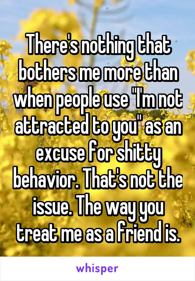 """There's nothing that bothers me more than when people use """"I'm not attracted to you"""" as an excuse for shitty behavior. That's not the issue. The way you treat me as a friend is."""