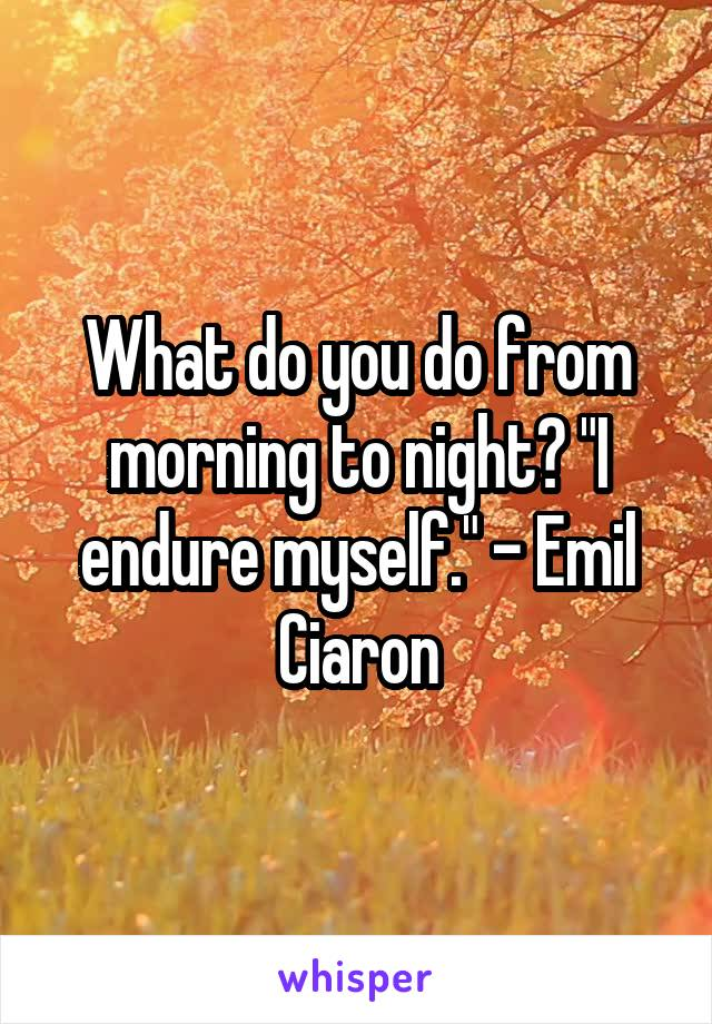 """What do you do from morning to night? """"I endure myself."""" - Emil Ciaron"""