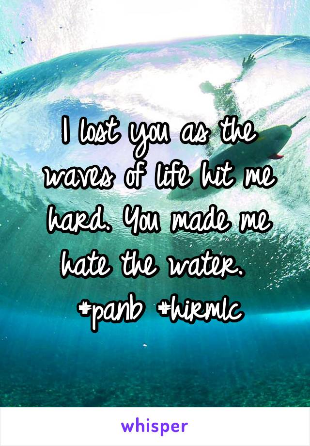 I lost you as the waves of life hit me hard. You made me hate the water.  #panb #hirmlc