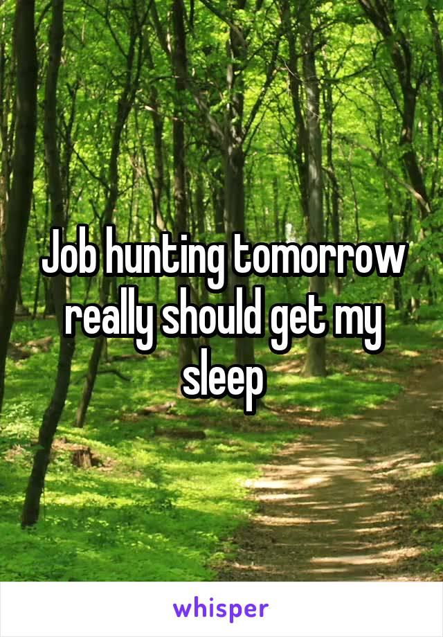Job hunting tomorrow really should get my sleep