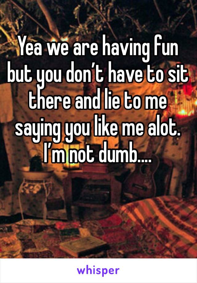 Yea we are having fun but you don't have to sit there and lie to me saying you like me alot. I'm not dumb....