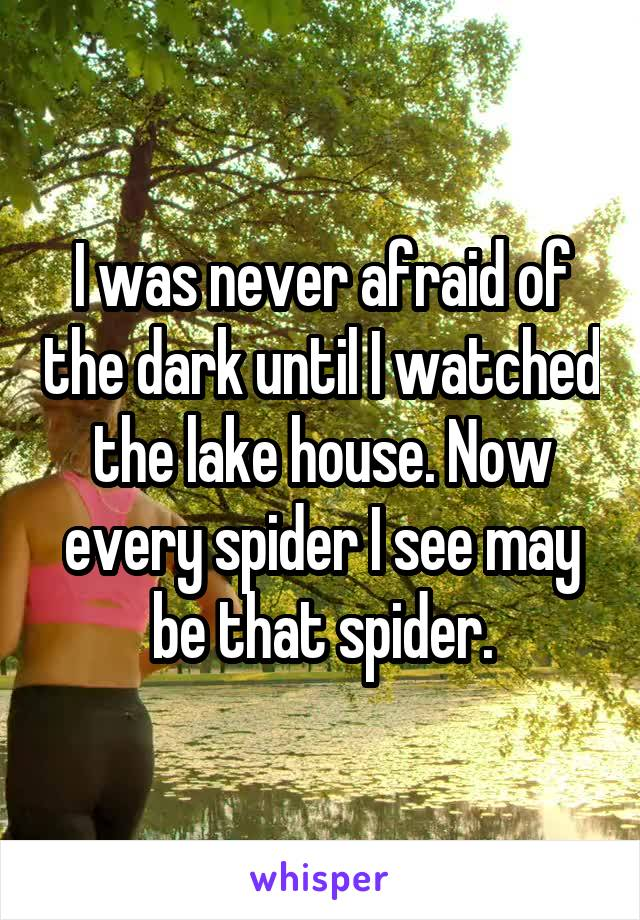 I was never afraid of the dark until I watched the lake house. Now every spider I see may be that spider.