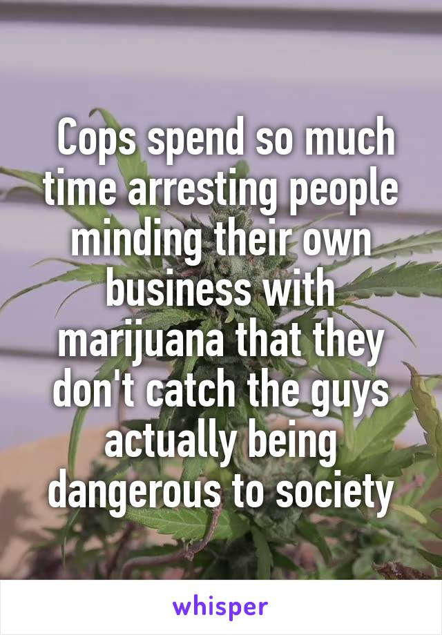 Cops spend so much time arresting people minding their own business with marijuana that they don't catch the guys actually being dangerous to society