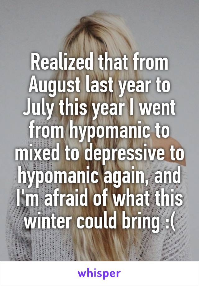 Realized that from August last year to July this year I went from hypomanic to mixed to depressive to hypomanic again, and I'm afraid of what this winter could bring :(