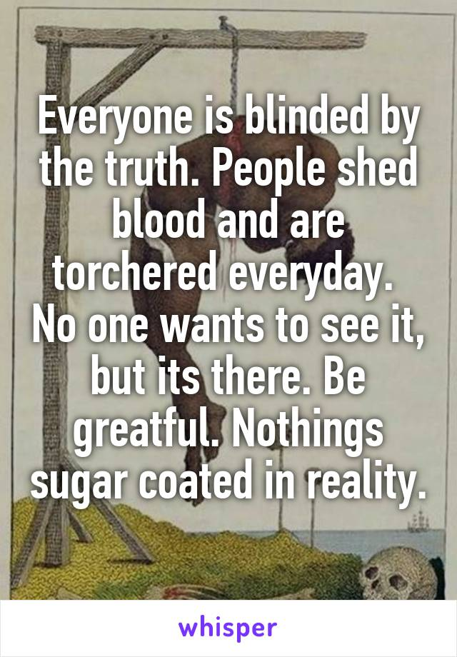 Everyone is blinded by the truth. People shed blood and are torchered everyday.  No one wants to see it, but its there. Be greatful. Nothings sugar coated in reality.