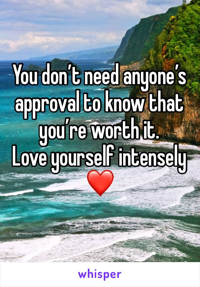 You don't need anyone's approval to know that you're worth it.          Love yourself intensely ❤️