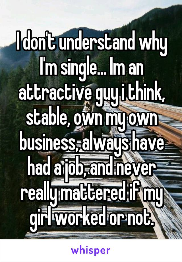 I don't understand why I'm single... Im an attractive guy i think, stable, own my own business, always have had a job, and never really mattered if my girl worked or not.