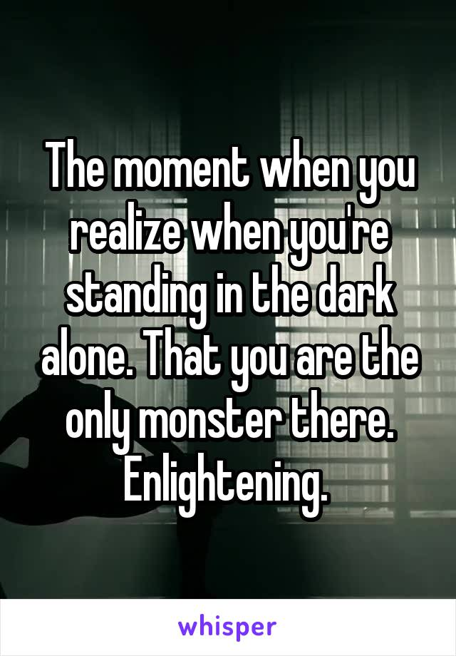 The moment when you realize when you're standing in the dark alone. That you are the only monster there. Enlightening.
