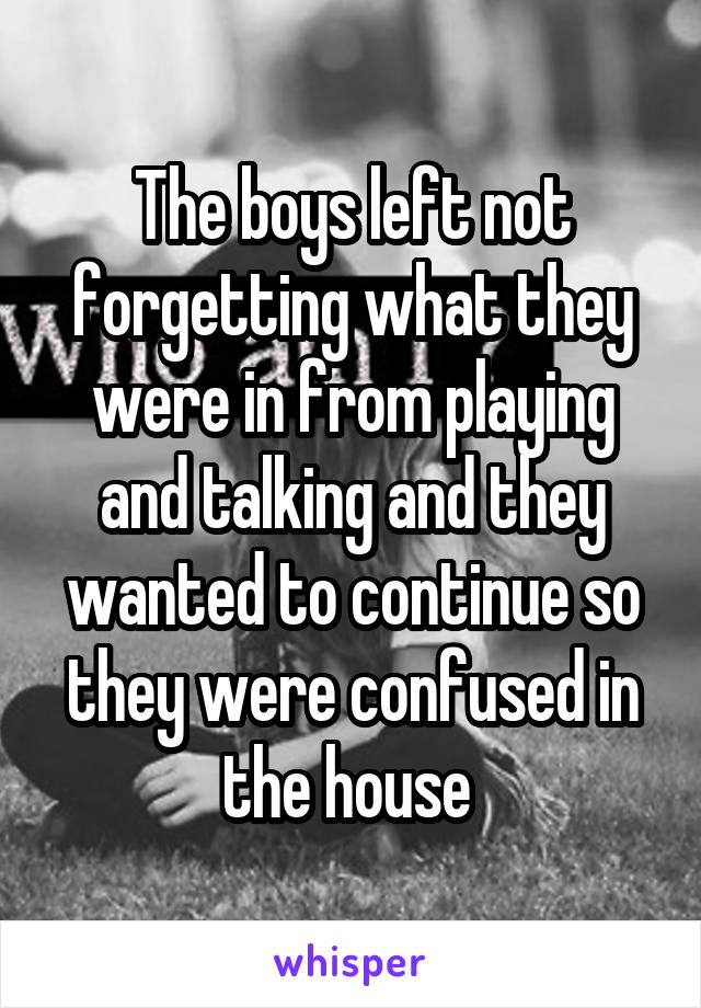 The boys left not forgetting what they were in from playing and talking and they wanted to continue so they were confused in the house