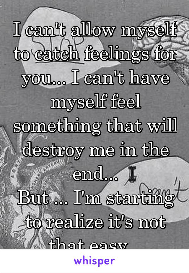I can't allow myself to catch feelings for you... I can't have myself feel something that will destroy me in the end... But ... I'm starting to realize it's not that easy...