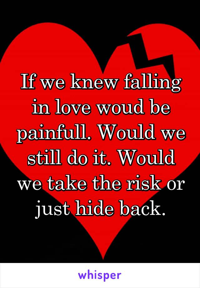 If we knew falling in love woud be painfull. Would we still do it. Would we take the risk or just hide back.