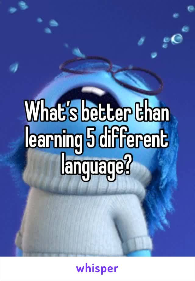 What's better than learning 5 different language?