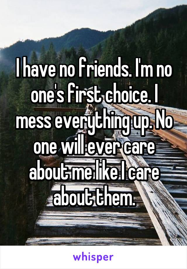 I have no friends. I'm no one's first choice. I mess everything up. No one will ever care about me like I care about them.
