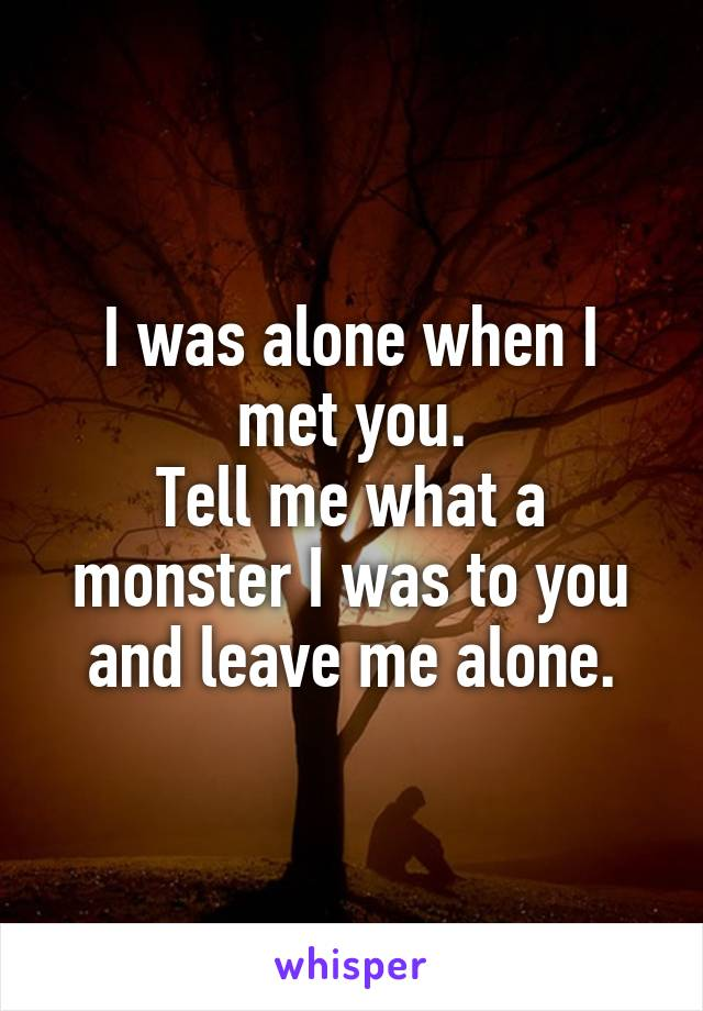 I was alone when I met you. Tell me what a monster I was to you and leave me alone.